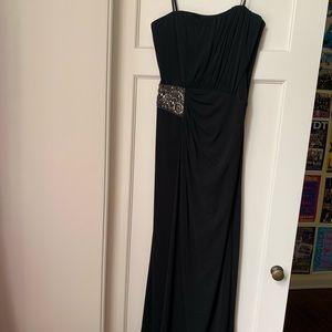 Laundry black strapless floor length long dress 0